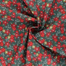 Poppy poplin cotton fabric - dark green Christmas flower x 10cm