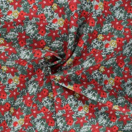 Poppy poplin cotton fabric - sage green Christmas flower x 10cm