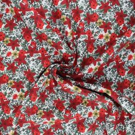 Poppy poplin cotton fabric - white Christmas flower x 10cm