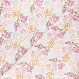 Tissu coton Smitten kitten Floral kitten - blanc x 10 cm