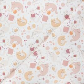 Tissu coton Smitten kitten Kittens - blanc x 10 cm