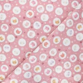 Tissu coton Smitten kitten Embroidery hoop - rose x 10 cm
