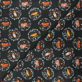 Tissu coton Sweater weather Dog days of Autumn - noir x 10 cm