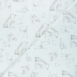 French terry fabric - off-white Polar animals x 10cm