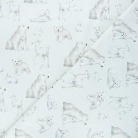 Tissu sweat léger Polar animals - blanc cassé x 10cm