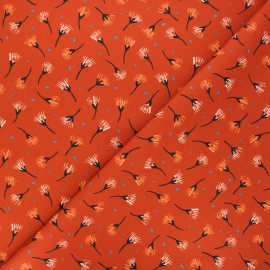 Cotton Dashwood Studio fabric - Woodland notions - orange Painted flowers x 10cm