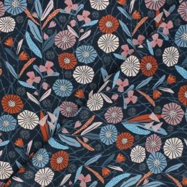Cotton Dashwood Studio fabric - Woodland notions - night blue Floralité x 10cm
