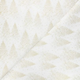 Cotton fabric - white Sparkling Christmas tree x 10cm