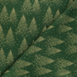 Cotton fabric - green Sparkling Christmas tree x 10cm