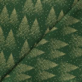 Tissu coton Sparkling Christmas tree - vert x 10cm