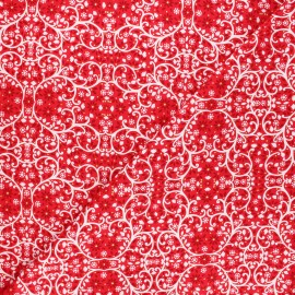 Cotton Dashwood Studio fabric - Starlit hollow red - red Ornement x 10cm