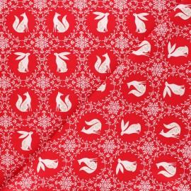 Cotton Dashwood Studio fabric - Starlit hollow red - red Animals x 10cm
