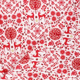 Cotton Dashwood Studio fabric - Starlit hollow red - white Forest reindeer x 10cm