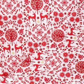 Tissu coton Dashwood Studio Starlit hollow red - Forest reindeer blanc x 10cm