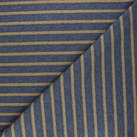 Tissu sweat Rayures - bleu chiné x 10cm