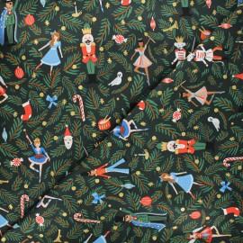 Tissu coton Rifle Paper Co. Holiday Classics - Nutcracker - vert x 10cm