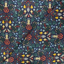 Rifle Paper Co. cotton fabric - Holiday Classics - blue Partridge x 10cm