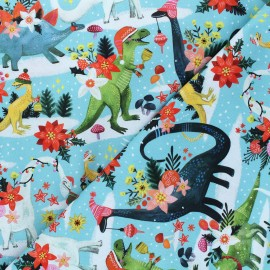 Dear Stella cotton fabric Rebel without a claus - blue Rawring holidays x 10cm
