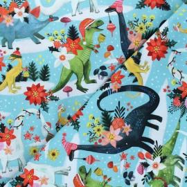 Tissu coton Dear Stella Rebel without a claus - Rawring holidays - bleu x 10cm