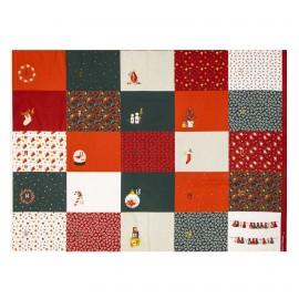Tissu coton Calendrier de l'Avent Poppy Advent Calendar C - rouge x 99cm