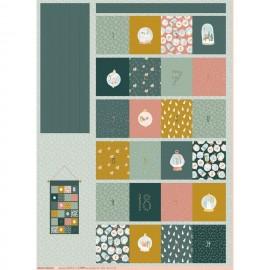 Poppy cotton fabric - green Advent Calendar D x 99cm