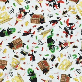Dear Stella cotton fabric Meowy and bright - white Meowy and bright x 10cm