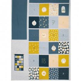 Tissu coton Calendrier de l'Avent Poppy Advent Calendar D - bleu x 99cm