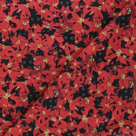 Dear Stella cotton fabric Meowy and bright - red Deck the paws x 10cm