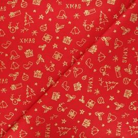 Cretonne cotton fabric - red Joyeux Noël x 10cm
