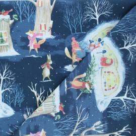 Tissu coton Dear Stella All spruced up - Merry Christmas ya filthy animals - bleu nuit x 10cm