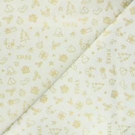 Tissu coton cretonne Joyeux Noël - crème x 10cm