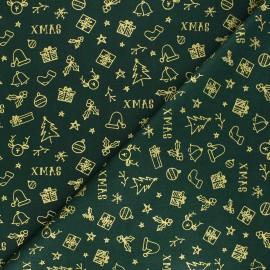 Cretonne cotton fabric - green Joyeux Noël x 10cm