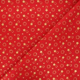 Cretonne cotton fabric - red Etoiles filantes x 10cm