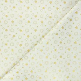 Tissu coton cretonne Etoiles filantes - crème x 10cm