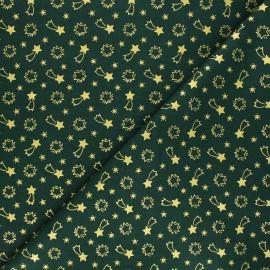 Cretonne cotton fabric - green Etoiles filantes x 10cm