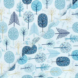 Cotton Dashwood Studio fabric - Starlit hollow blue - blue Trees x 10cm