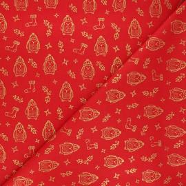 Cretonne cotton fabric - red Pôle Nord x 10cm