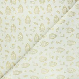 Cretonne cotton fabric - cream Pôle Nord x 10cm