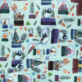 Dear Stella cotton fabric Rebel without a claus - almond green Snow globes x 10cm