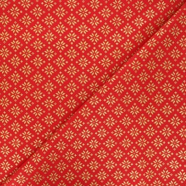 Cretonne cotton fabric - red Esprit scandinave x 10cm