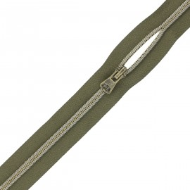 Large zip by the meter with sliders - khaki green x 1m