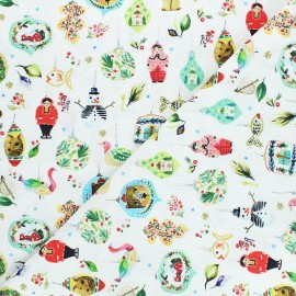 Dear Stella cotton fabric Love at frost sight - white Ornaments x 10cm