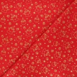 Tissu coton cretonne Père Noël - rouge x 10cm