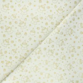 Tissu coton cretonne Père Noël - crème x 10cm