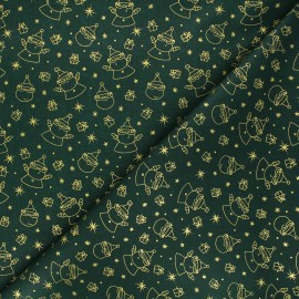 Cretonne cotton fabric - green Père Noël x 10cm