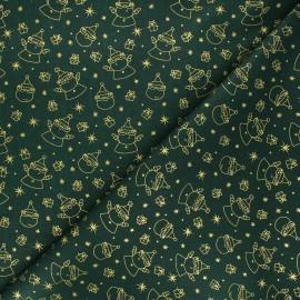 Tissu coton cretonne Père Noël - vert x 10cm