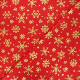 Cretonne cotton fabric - red Flocon lapon x 10cm