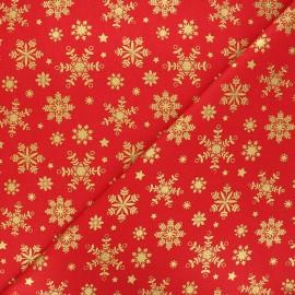 Tissu coton cretonne Flocon lapon - rouge x 10cm