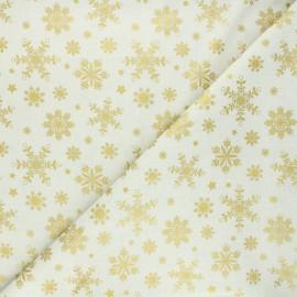 Tissu coton cretonne Flocon lapon - crème x 10cm