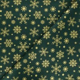 Cretonne cotton fabric - green Flocon lapon x 10cm